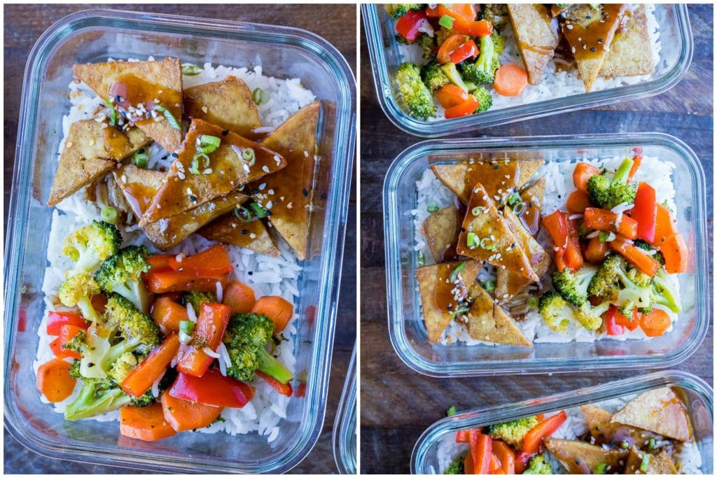 Teriyaki Tofu Bowls in meal prep containers