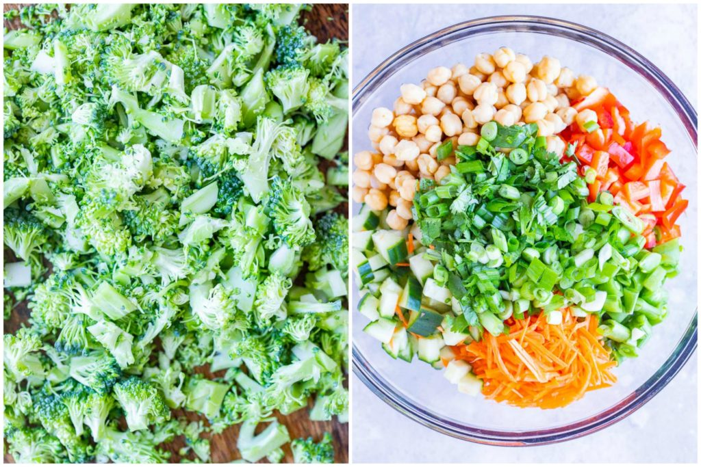 Showing how to make Asian Broccoli Salad with all the ingredients in a bowl