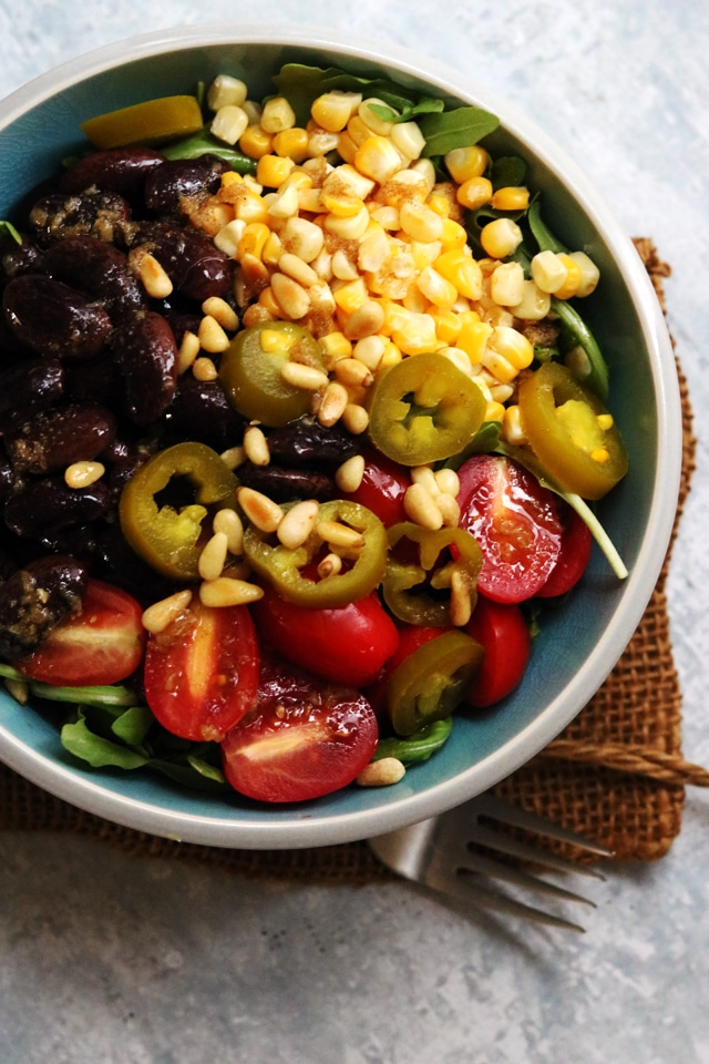 Summer grain bowls with corn and jalapeno