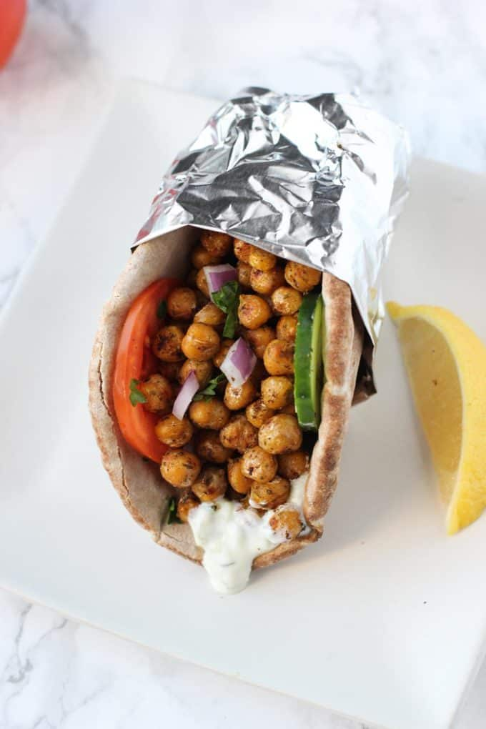 chickpea gyro in tin foil