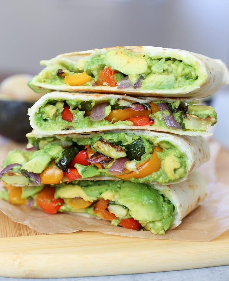Stack of grilled vegetable and avocado quesadilla slices