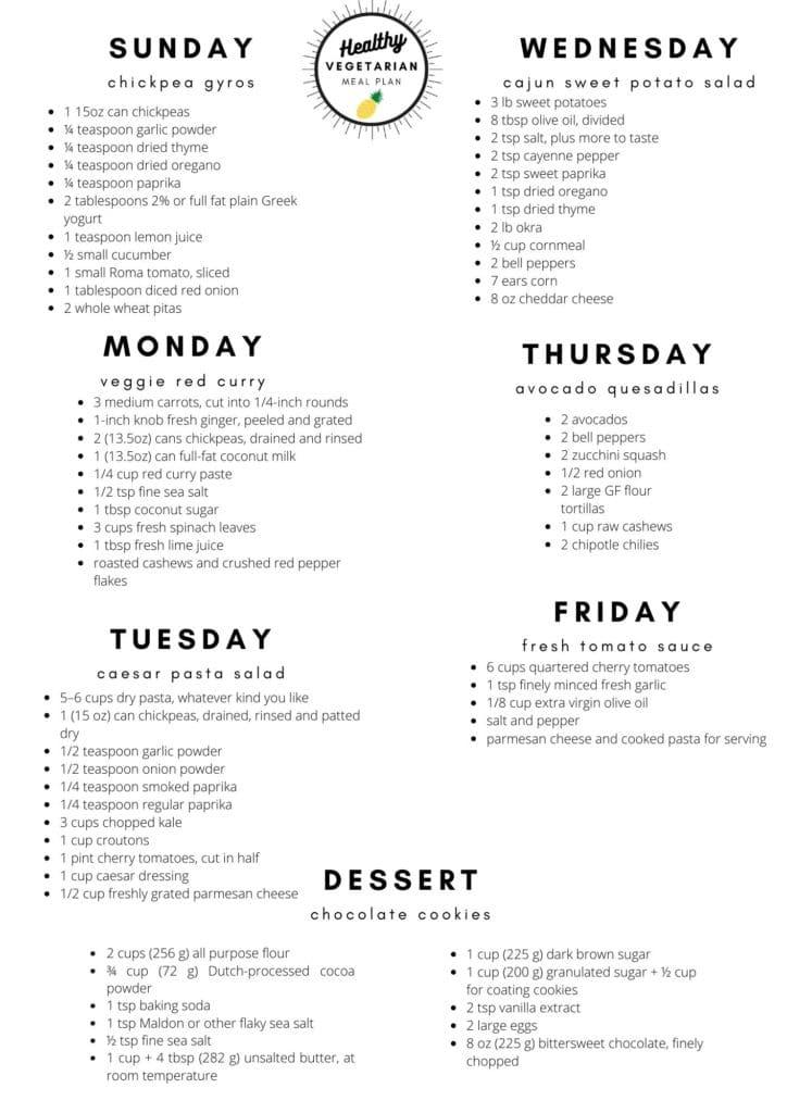 Healthy vegetarian meal plan week 35 shopping list