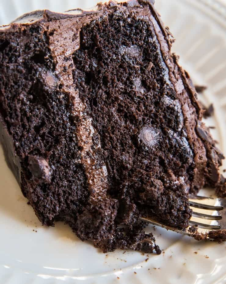 Gluten free chocolate cake with a fork