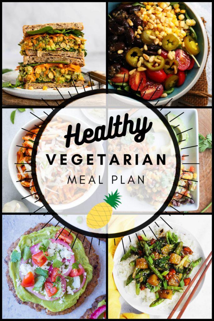 Healthy vegetarian meal plan pinterest graphic