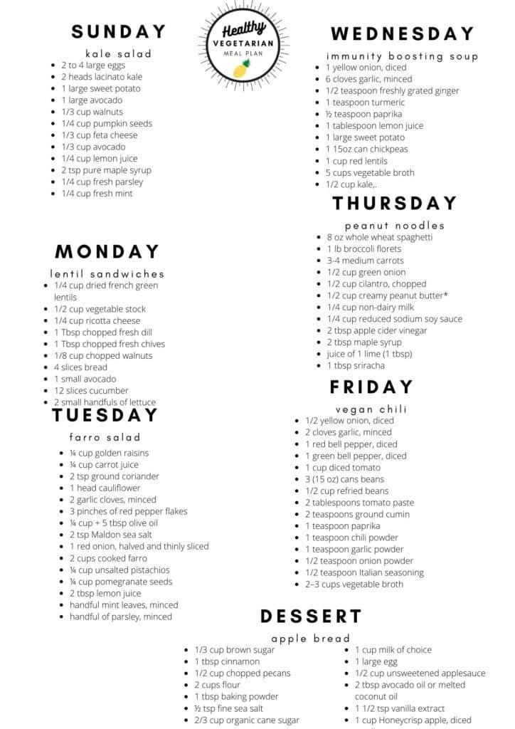 Healthy vegetarian meal plan week 41 shopping list