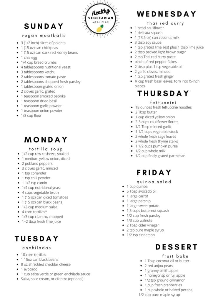 Healthy vegetarian meal plan week 42 shopping list
