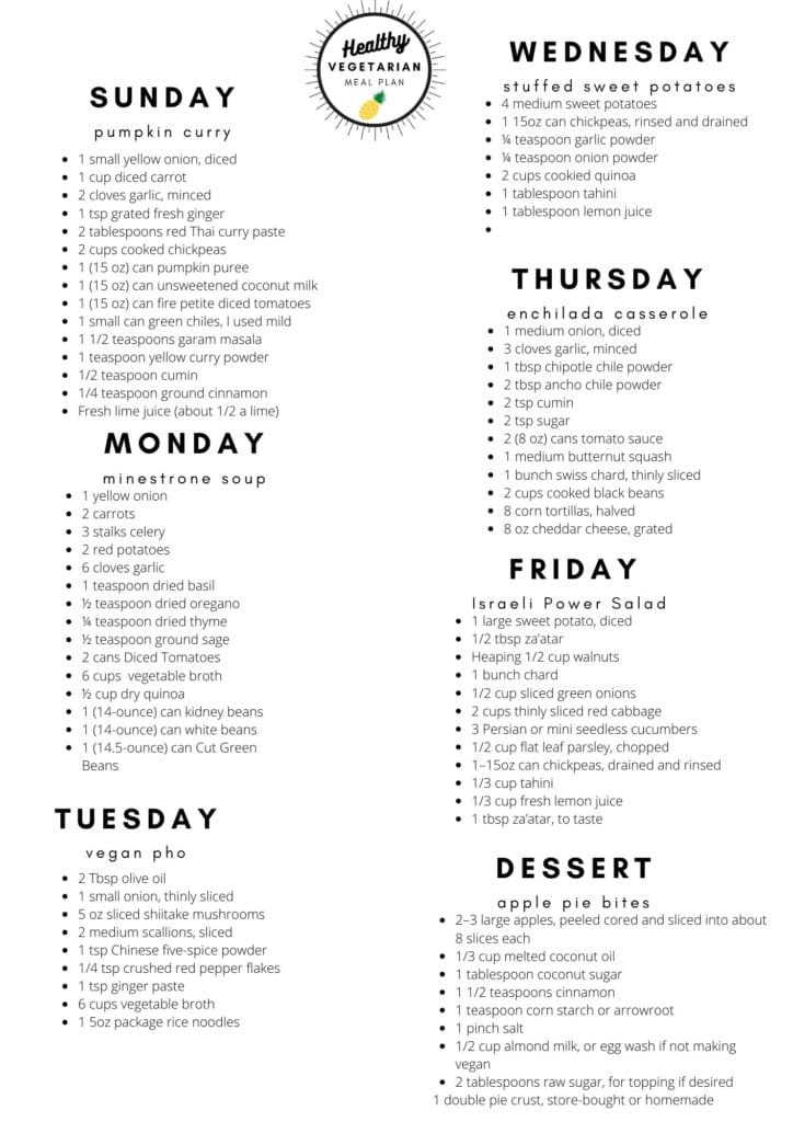 Healthy vegetarian meal plan week 44 shopping list