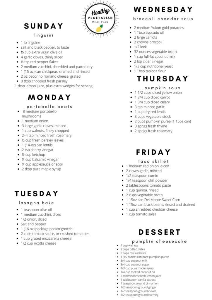 Healthy vegetarian meal plan week 46 shopping list