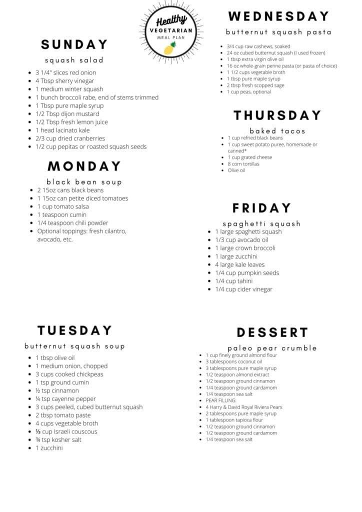 Healthy vegetarian meal plan week 48 shopping list